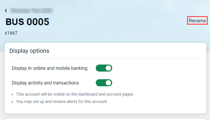 Rename option for an account