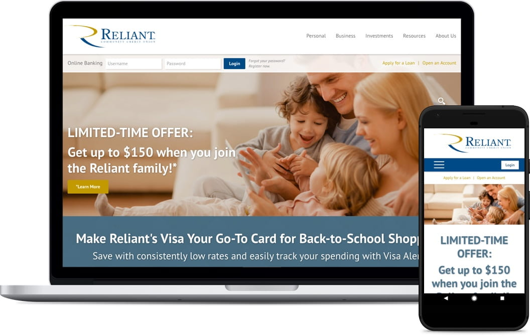 Reliant Community Federal Credit Union website